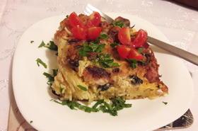 Спагети с пиле и бекон на фурна