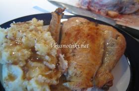 Задушено пиле с картофено пюре
