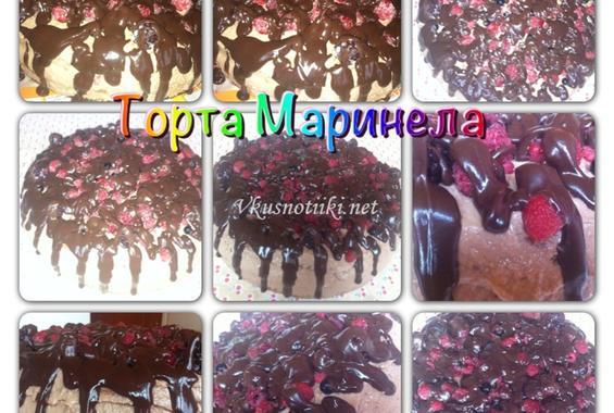 Шоколадова торта с малини-Маринела