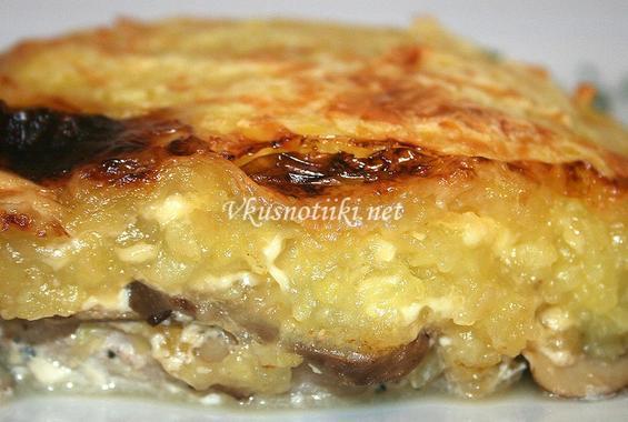 Пържоли с гъби и топено сирене